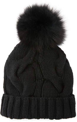 Loro Piana Cashmere Chunky Knit Beanie Hat w/ Fur Pompom