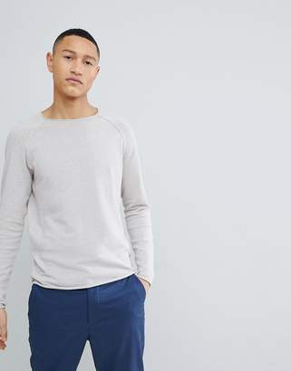 Selected Knitted Sweater With Roll Hem Detail