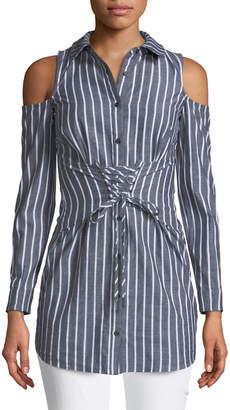 Love, Fire Corset Menswear Striped Shirt