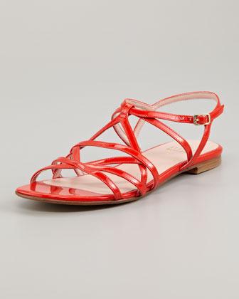 Stuart Weitzman Transito Strappy Flat Sandal, Poppy Red