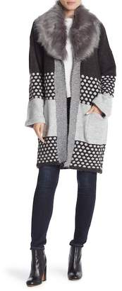 Joseph A Detachable Faux Fur Collared Cardigan