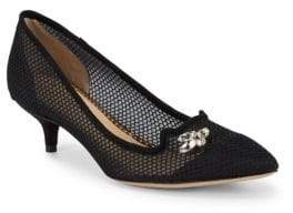 Charlotte Olympia Fishnet Kitten Heel Pumps