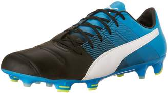 Puma Men's evoPOWER 1.3 Lth FG Soccer Cleats, Black/White/Atomic Blue