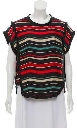 Etoile Isabel Marant Silk Striped Short Sleeve Top
