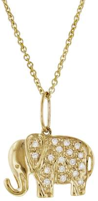 Sydney Evan Small Diamond Elephant Necklace - Yellow Gold