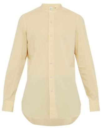 Finamore 1925 - Lorenzo Band Collar Brushed Cotton Poplin Shirt - Mens - Yellow