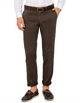 Canali Fl Fr Cotton/Elast Plain Trouser