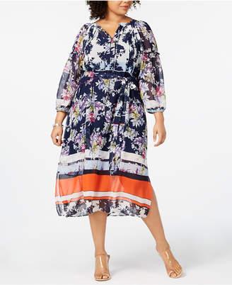 525f82892b2 Taylor Plus Size Printed Peasant Dress