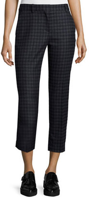 Theory Treeca 2 Brisk Check Cropped Pants $285 thestylecure.com