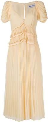 Self-Portrait frilled slit pleated midi dress