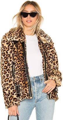 Blank NYC BLANKNYC Faux Fur Leopard Biker Jacket