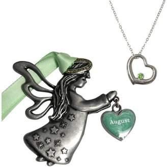 Gloria Duchin August Birthstone Angel Ornament and Necklace Set