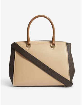 MICHAEL Michael Kors Michael Kors Beige and Brown Benning Logo Leather Tote Bag
