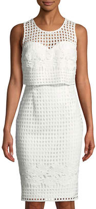 GUESS Grid-Lace Illusion Sheath Dress