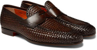 87cf1f09b9a Santoni Woven Leather Penny Loafers - Men - Dark brown