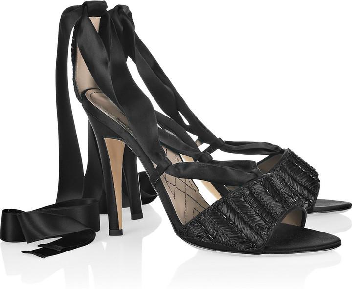 Alberta Ferretti Woven raffia sandals