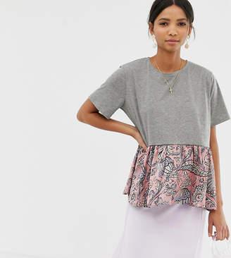 Ghospell oversized t-shirt with paisley print peplum hem
