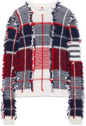 Thom Browne Frayed Intarsia Cashmere-blend Sweater - Red