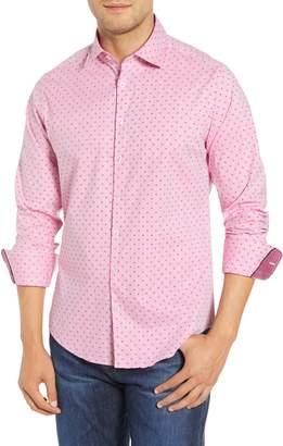 Stone Rose Trim Fit Print Sport Shirt