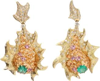 Arunashi Emerald And Diamond Fish Earrings