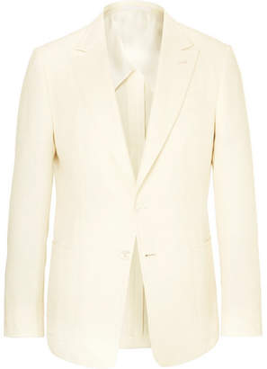 Ermenegildo Zegna Ivory Slim-Fit Silk And Cotton-Blend Hopsack Jacket