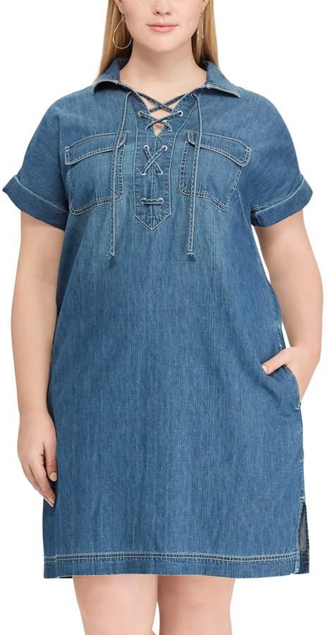 Plus Size Lace-Up Denim Dress