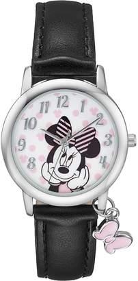 Disney Disney's Minnie Mouse Women's Bow Charm Leather Watch