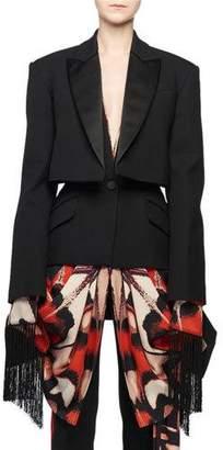Alexander McQueen Scarf-Draping Fringe-Hem Trompe-l'oeil Layered Tuxedo Jacket