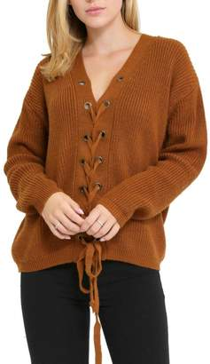 1 Funky Lace Up Front Sweater