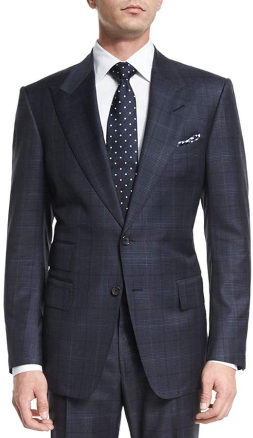 Tom Ford Windsor Base Over-Plaid Two-Piece Suit, Navy