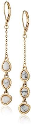 The Sak 3 Stone Linear Drop Earrings
