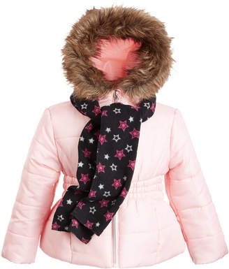 S. Rothschild Little Girls Hooded Jacket With Faux-Fur Trim & Scarf