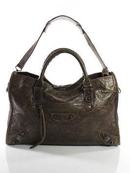 Balenciaga Balenciaga Brown Leather Distressed Small Motorcycle Handbag