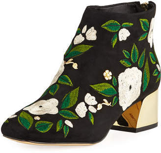 Karl Lagerfeld Paris Harlow Embroidered Suede Booties