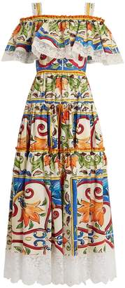 Dolce & Gabbana Majolica-print gathered cotton-blend dress
