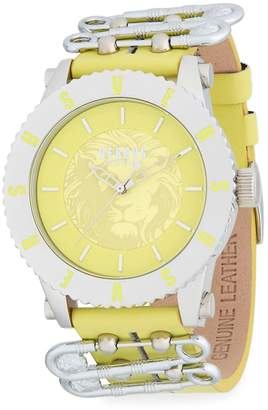 Versace Women's Graphic Stainless Steel Leather-Strap Watch