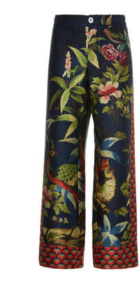 For Restless Sleepers Ceo Printed Silk Straight-Leg Pants