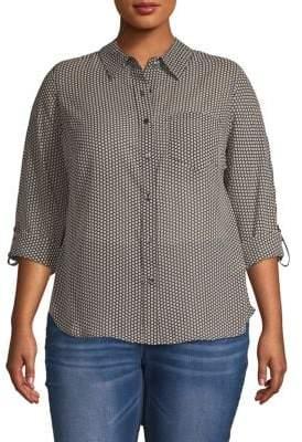 Plus Printed Button-Down Shirt