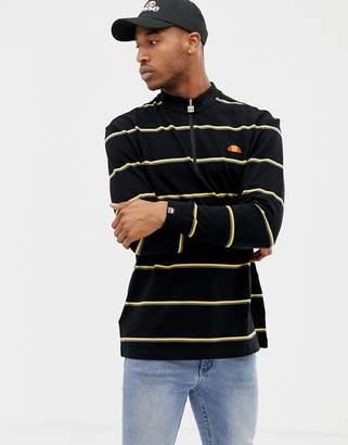 Ellesse Bonsi Striped 1/4 Zip Sweatshirt In Black