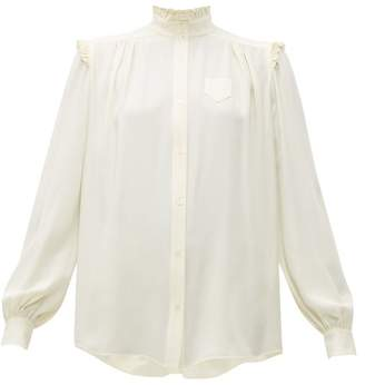 No.21 No. 21 - Ruffle Trimmed Crepe Blouse - Womens - Ivory