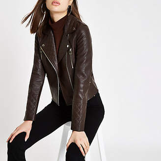 River Island Brown faux leather quilted biker jacket