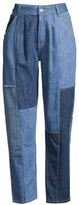 Coach 1941 Denim Patchwork Pleated Crop Trousers