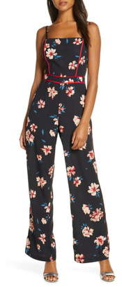 Adelyn Rae Carson Piped Floral Jumpsuit