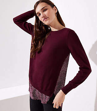 LOFT Petite Dotted Mixed Media Sweater