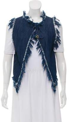Love Sam Chambray Embellished Sleeveless Top