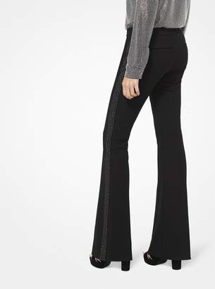 MICHAEL Michael Kors Embellished Stretch-Twill Flared Trousers