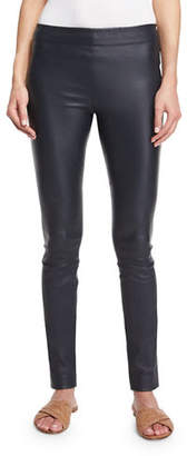 The Row Moto Leather Leggings, Navy