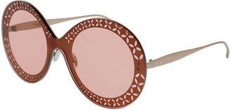 Alaia Perforated Metal Round Shield Sunglasses