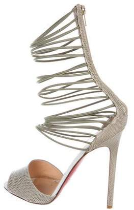 ddb24e07f4e4 Christian Louboutin Covered Heels Women s Sandals - ShopStyle