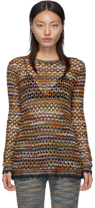 M Missoni Blue Crochet Sweater